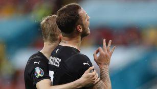 Marko Arnautovic celebrando gol vs Macedonia