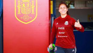 Cecilia Santiago en un entrenamiento con Selección