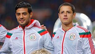 Vela y Chicharito con la Selección