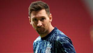 Lionel Messi previo a un partido de Argentina