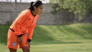 Lucero Cuevas, en un entrenamiento con Pachuca