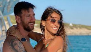 Lionel Messi junto a Antonela Roccuzzo