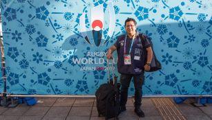Rodrigo, durante su cobertura del Mundial de Rugby