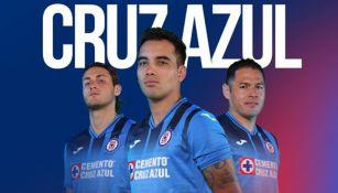 Imagen promocional de uniforme de local de Cruz Azul