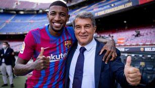 Emerson fue presentado por Joan Laporta en el Camp Nou