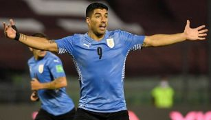 Luis Suárez durante un partido con Uruguay