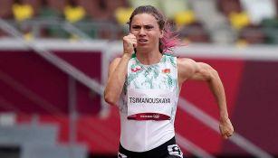 Krystsina Tsimanouskaya en la prueba de 100m planos