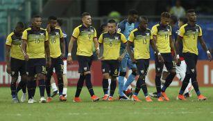 Jugadores de Ecuador previo a un partido
