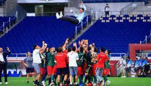 El festejo de los seleccionados con Jaime Lozano