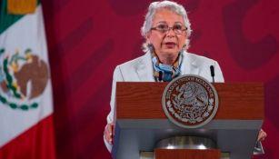 Olga Sánchez Cordero durante una conferencia