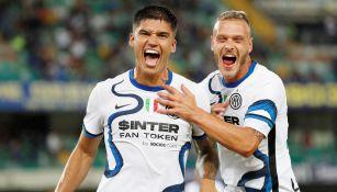 Joaquín Correa celebra una anotación con el Inter