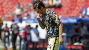 Nicolás Benedetti previo a un partido de América