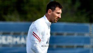 Lionel Messi en un entrenamiento del PSG
