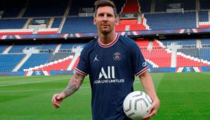 Messi en su presentación en el PSG