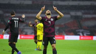 Henry Martín celebrando su gol ante Jamaica