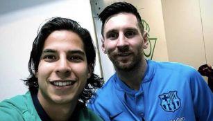 Lainez y Messi tras un partido de LaLiga