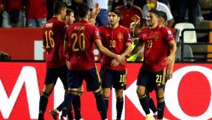 Jugadores de España en festejo