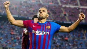 Martin Braithwaite celebra con el Barcelona