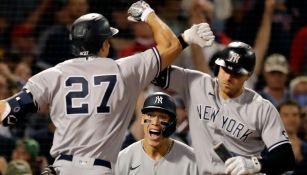 Festejo de los Yankees en Fenway Park