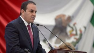 Cuauhtémoc Blanco en una conferencia como Gobernador de Morelos