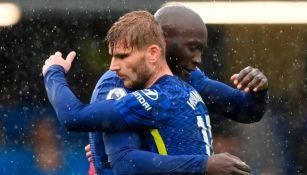 Lukaku y Werner festejando un gol a favor del Chelsea