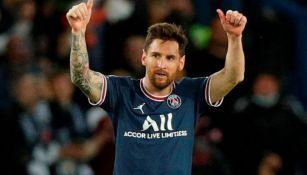 Messi festeja su anotación con el PSG