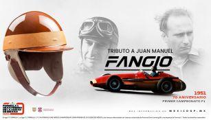 Promocional de la réplica certificada del casco de Juan Manuel Fangio