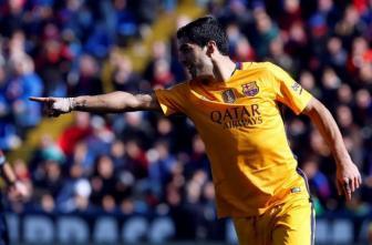 Suárez festeja su anotación sobre Levante