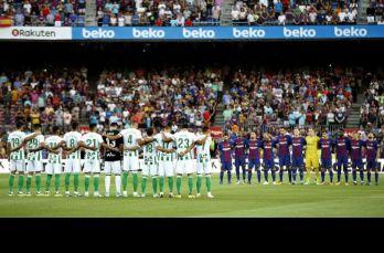 Barcelona y Betis guardan un minuto de silencio por las víctimas del atentado terrorista
