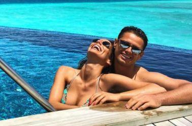 Villalón y Hernández, disfrutando su día en la playa