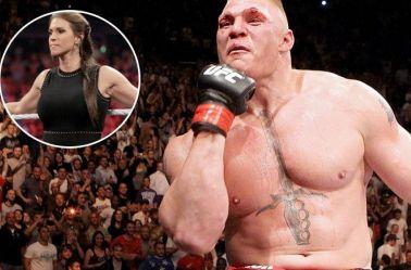 Brock Lesnar celebra una victoria en UFC