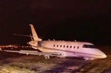 Avión privado de CR7 tras sufrir accidente
