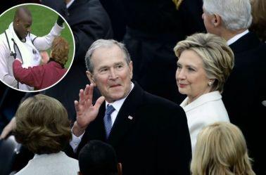George Bush saluda la gente durante la toma de posesión de Donald Trump