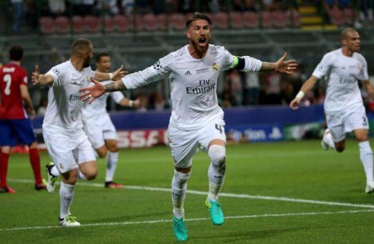 Sergio Ramos celebra su gol durante la Final frente al Atlético
