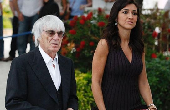 Bernie Ecclestone junto a su esposa Fabiana Flosi