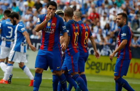 Suárez festeja un gol con Barcelona
