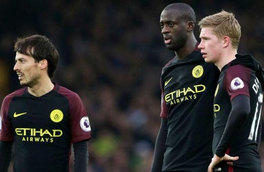 Silva, Toure y De Bruyne, durante un juego del Manchester City