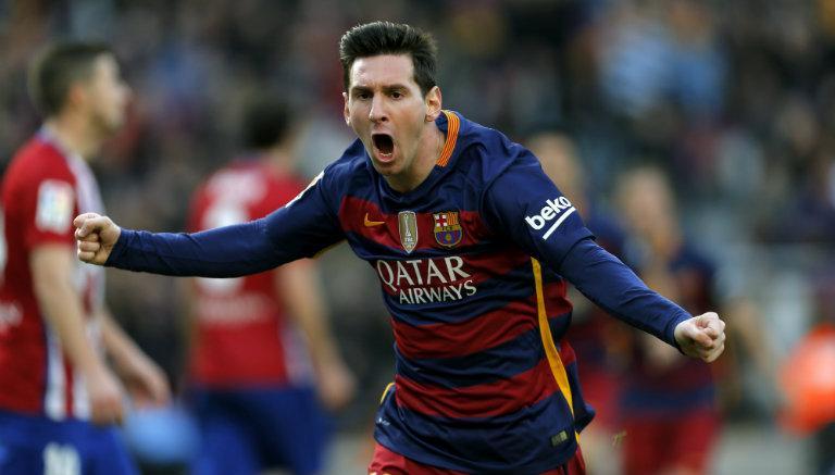 Lionel Messi celebra gol contra Atlético de Madrid