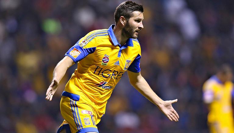 Gignac festeja gol contra Chiapas