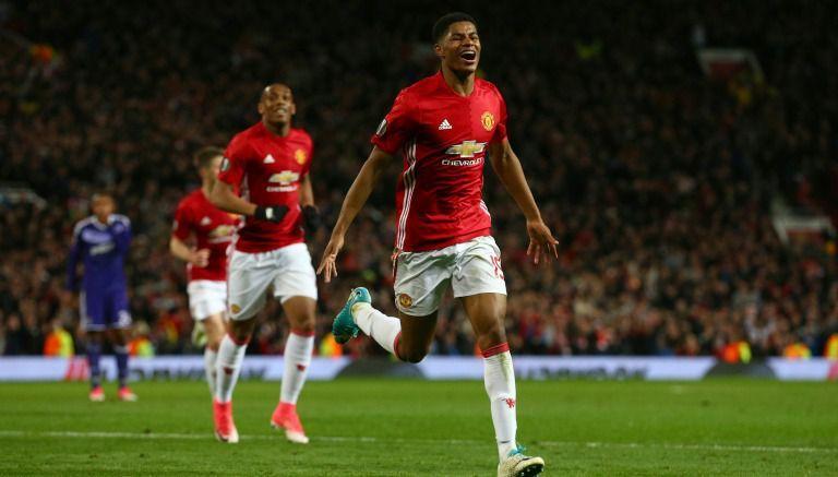 Rashford celebra el gol de la victoria del United
