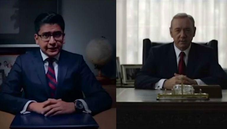 Miguel Ángel Cocarrubias y el personaje, Frank Underwood