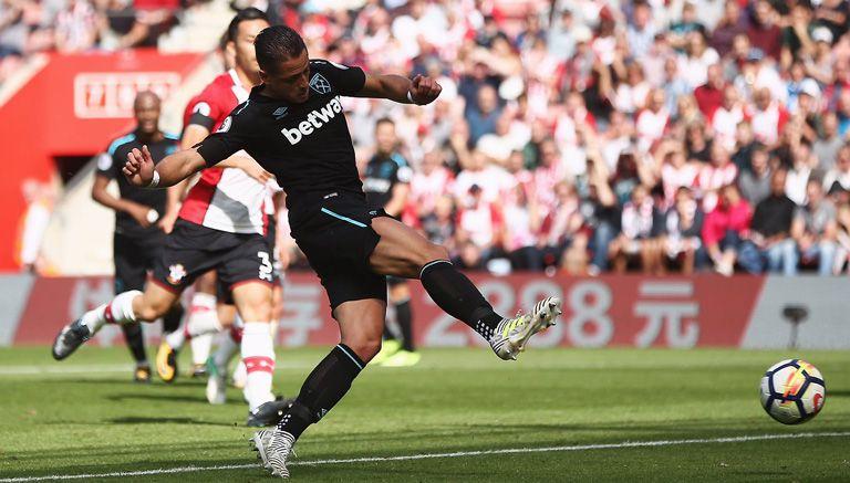 Así disparó Hernández para su primer gol con los Hammers