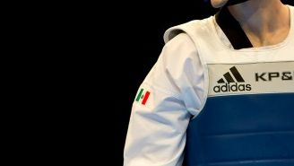 René Lizarraga durante un combate de taekwondo