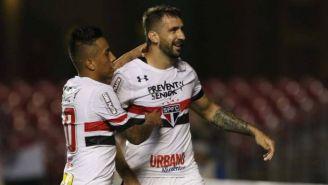 Lucas Pratto celebra un gol con el Sao Paulo