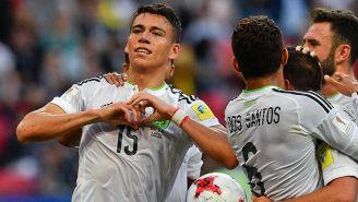 Héctor Moreno festeja el gol del empate contra Portugal