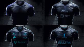 Los uniformes negros que utilizarán Chivas, Rayados, Santos y Gallos