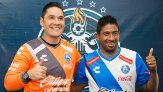 Muñoz y Marrugo, en su presentación como jugadores de Puebla
