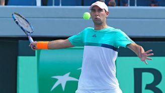 González, durante un partido de tenis en la Copa Davis