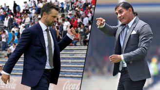 Rafa Puente y Paco Palencia en un encuentro de sus equipos