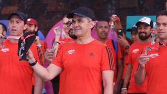 Mancera, durante la presentación de la medalla del Maratón de la CDMX